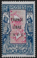 1941 - 1942 Saint Pierre Et Miquelon N° 287  Nf** . MNH . Surcharge France Libre. - Neufs