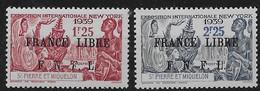 1941 - 1942 Saint Pierre Et Miquelon N° 281 282  Nf** . MNH . Surcharge France Libre. Exposition De New York. - St.Pierre & Miquelon