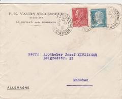 France Timbres Perforés Sur Lettre Le Bouscat Pour L'Allemagne - 1921-1960: Modern Period