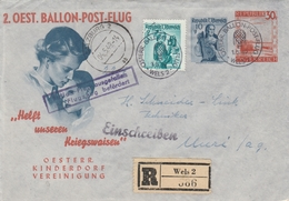 Autriche Entier Postal Illustré Recommandé Poste Par Ballon Wels 1949 - Postwaardestukken