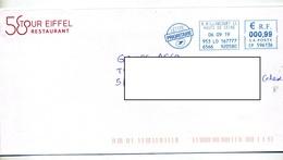 Lettre Machine Billancourt Entete Restaurant Tour Eiffel - Marcophilie (Lettres)