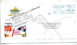 Lettre Machine Chalons + Vignette Retour Cachet Verneuil - Marcophilie (Lettres)