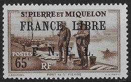 1941 - 1942 Saint Pierre Et Miquelon N° 259  Nf** . MNH . Surcharge France Libre. Port De Saint Pierre. - St.Pierre & Miquelon