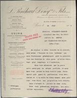"""Courrier """" Pinchart Deny - Usine Perforation Des Métaux """" 19/06/1909 - France"""