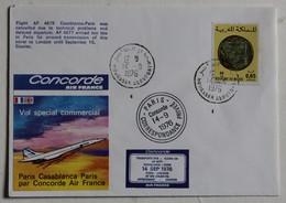 Avion Concorde Premier Vol 14 Septembre 1976 Paris Casablanca Enveloppe Premier Jour First Flight 2000 Exemplaires - Concorde