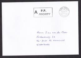 Liechtenstein: Priority Cover To Netherlands, 1999, Cancel P.P., Postage Paid (traces Of Use) - Brieven En Documenten