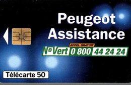 TELECARTE 50 UNITES  PEUGEOT ASSISTANCE - Werbung