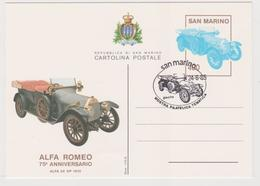 San Marino Cartolina Postale Celebrativa Del 75° Anniversario Dell'Alfa Romeo - Automobili