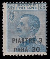 LEVANTE - COSTANTINOPOLI - Francobollo D'Italia 1901/19 (O.C.V. Di Torino): 3 Pi E 30 Pa. Su 25 C. Azzurro (83) - 1922 - Oficinas Europeas Y Asiáticas