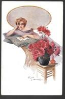 Cpa...illustrateur Italien...Franzoni R...art Nouveau / Art Déco...femme élégante , Fleurs.... - Illustratoren & Fotografen