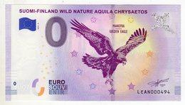 2019-5 BILLET TOURISTIQUE FINLANDE 0 EURO SOUVENIR N°LEAN000494 SUOMI FINLAND WILD NATURE AIGLE - EURO