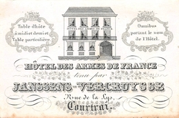 Porceleinkaart Hôtel DesArmes De France Jannsens-Vercruysse Courtrai -  11x7cm - Kortrijk