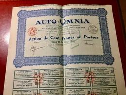 AUTO - OMNIA ( Fournitures  Générales  Pour  L' Automobiles )-------- Action  De  100 Frs - Automobilismo