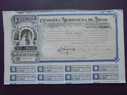 ESPAGNE - ZARAGOZA 1910 - CIE ARAGONESA DE MINAS - PART DE FONDATEUR - BELLE DECO - Azioni & Titoli