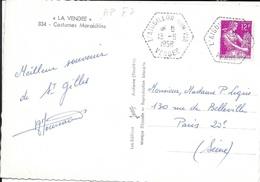 VENDEE 85  - L'AIGUILLON SUR VIE     - CACHET AGENCE POSTALE  F 7  -  1958 - SUR CP COSTUMES MARAICHINS - Handstempel