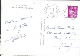 VENDEE 85  - L'AIGUILLON SUR VIE     - CACHET AGENCE POSTALE  F 7  -  1958 - SUR CP COSTUMES MARAICHINS - Bolli Manuali
