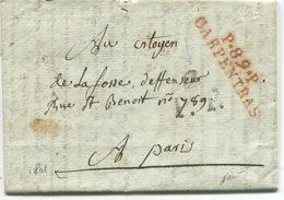 CARPENTRAS (Vaucluse) Marque De Port-payé à Numéro P89P / CARPENTRAS . Bonnet Phrygien  / 1801 / Superbe - 1801-1848: Précurseurs XIX