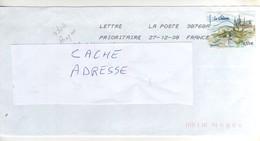 """Beau Timbre , Stamp  """" Prague : Le Chateau """" Yvert N° 4304 Sur Lettre , Cover , Mail Du 27/12/2008 - Brieven En Documenten"""