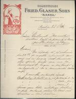 "Courrier "" Comestibles Fried, Glaser Sohn - Basel "" 25 Aout 1909 - Suisse"