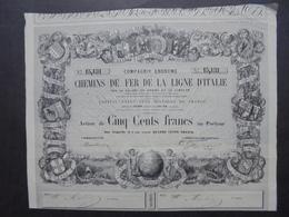 FRANCE - 1858 - CDF DE LA LIGNE D'ITALIE PAR VALLEE DU RHONE ET DU SIMPLON - ACTION 500 FRS - BELLE ILLUSTRATION - Azioni & Titoli