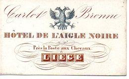 Liège  : Carte Porcelaine Hôtel De L'Aigle Noire - Cartes Porcelaine