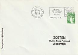 """Env. De """"Ajaccio RP - 20, Corse Du Sud"""" Du 23-08-1979, """"La Forêt Est Fragile, Attention Au Feu !""""  Sur Sabine (roulette) - Annullamenti Meccanici (pubblicitari)"""