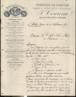 """Courrier """" Fabrique De Cornues Coureau - Chalon Sur Saône """" - 21 Septembre 1891 - France"""