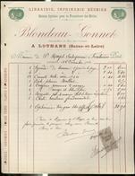 """Facture """" Librairie, Imprimerie Réunies Blondeau Gonnet - Louhans """" - 22 Décembre 1902 - France"""