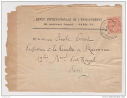 TYPE BLANC 3 C ORANGE N° 109 SUR DEVANT DE LETTRE REVUE INTERNATIONALE DE L'ENSEIGNEMENT  - 2 Scans - 1900-29 Blanc