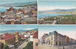 4 CPA COULEUR:LIBAN BEYROUTH LA MUNICIPALITÉ,VUE,BANQUE DE SYRIE,BAY SAINT GEORGE - Líbano
