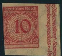 1924, 10 Pfg. Krobdeckel Ungezähnt Vom Seitenrand Ungebraucht - Mi-Nr. 340 U * - Ohne Zuordnung