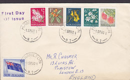New Zealand Ersttags Brief FDC Cover 1960 Third Pictorials ½d. To 9d. Flowers & Flag Blumen & Flagge - FDC