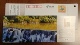 Jingpohu Lake Waterfall,China 2014 Jingpohu Alpine Barrier Lake Scenic Spot Ticket Advertising Pre-stamped Card - Holidays & Tourism