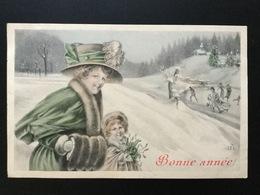 CPA De Janvier 1911 Illustration Signée J K Femme Et Fillette En Fourrures Avec Du Gui Dans La Neige - Nouvel An