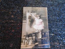 Petite Fille Et Tableau, Doux Souvenir, 1908      (P9) - Cartes Postales