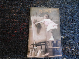 Petite Fille Et Tableau, Amitiés, 1908      (P9) - Cartes Postales