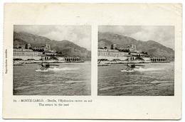 MONTE CARLO : DOCILE, L'HYDRAVION RENTRE AU NID : STEREOSCOPE CARD - Monte-Carlo