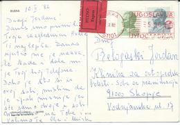 Yugoslavia - Croatia - Rijeka Postcard - Post Label Express And Red Machine Stamp Rijeka 51101 - 1945-1992 Socialist Federal Republic Of Yugoslavia
