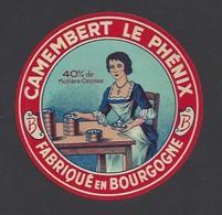 Etiquette  Fromage Camembert  -  Le Phénix  -  Fabriqué En  Bourgogne - Cheese