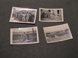 INDOCHINE FRANCAISE - LANG LONG - 4 PHOTOS N/B AVEC MILITAIRES /LEGION - COMMENTAIRES AU DOS - Guerre, Militaire