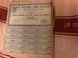 Lot De 5 Actıons  SOCIÉTÉ D'ÉTUDES AÉRO - NAVALES - Aviation