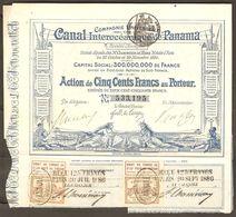 Vintage 1880 Canal Interoceanique De Panama Stock Certificate Ferdinand De Lesseps - Certificat D'actions - Transport
