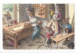 22886 - Famille De Souris Humanisées Dans Un Atelier De Menuiserie + Cachet Comptoir Suisse - Animali Abbigliati
