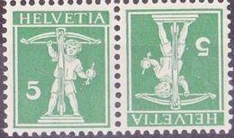 Schweiz Suisse 1910:  Kehrdruck / Téte-bêche Zu K7 III Mi K5 Type III * Mit Falz - Avec Trace  MLH (Zu CHF 13.00 - 50%) - Kehrdrucke