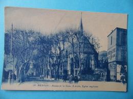 CPA   -  MENTON  -  Avenue De La Gare - à Droite Eglise Anglicane - Menton