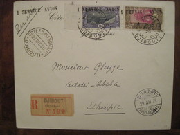 Cotes Des Somalis France 1929 SERVICE AVION DJIBOUTI Addis Abeba Ethiopie Par Avion Air Mail Reco PA - Lettres & Documents