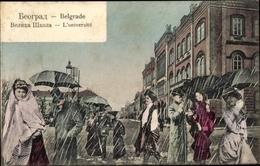 Cp Belgrad Beograd Serbien, Universität, Frauen Und Männer Im Regen, Regenschirme - Serbia