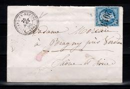 Rare - GC 2013 De Lessard En Bresse Sur YV 22 + Cachet Perlé Sur Lettre De 1865 - 1849-1876: Période Classique