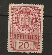 TIMBRES FISCAUX DE MONACO AFFICHES  N°12 20 C ROIUGE - Revenue