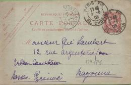 Entier Mouchon 10c Rose Type 124-CP1 De Paris XVI à Bayonne 3/08/03 - Postal Stamped Stationery